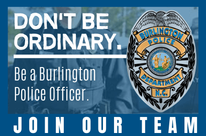 "a join our team image which has a blued out image of an officer with the text ""Don't be ordina"