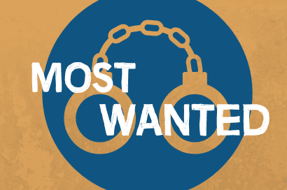an image with a tan background with a blue circle with handcuffs cut out to show the tan background