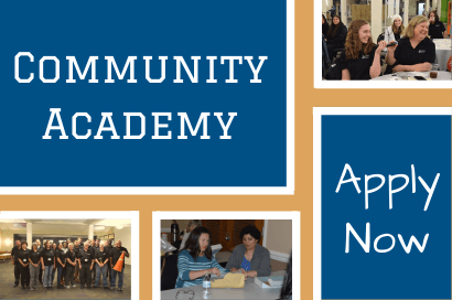 "a collage image on a tan background with a blue rectangle with ""Community academy"" in white fo"