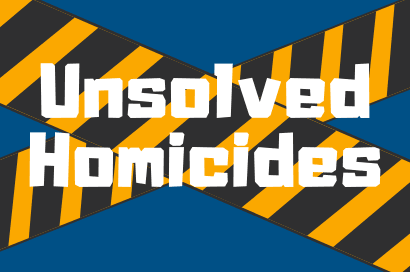 "an image with a blue background with yellow and black caution tape crisscrossing it with ""Unsolve"