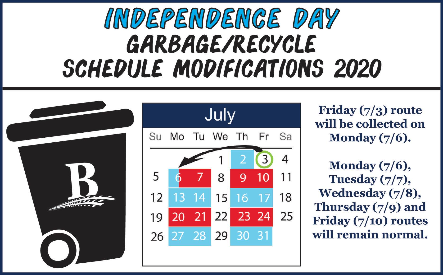 July 4th Sanitation Schedule