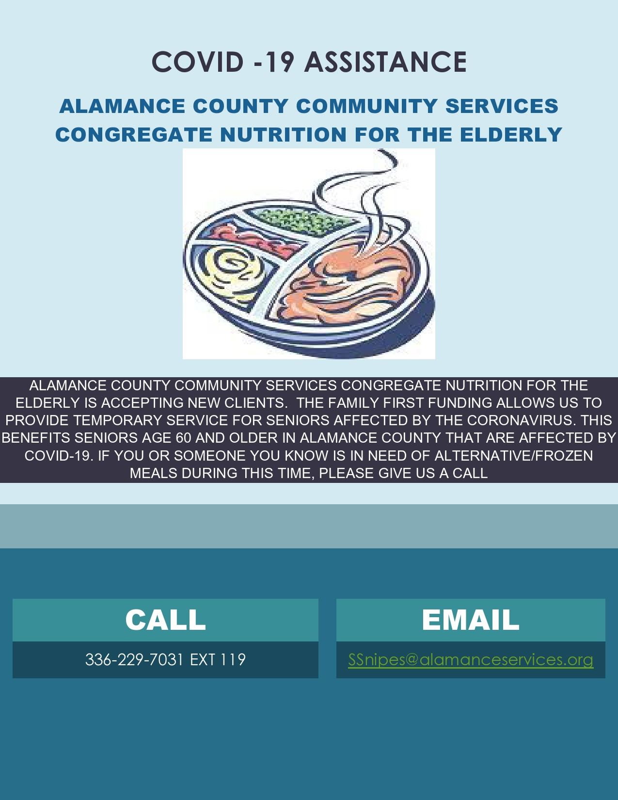 COVID Flyer- Alamance County Services